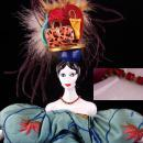 Signed Flapper Doll / Victorian velvet couch / deco head / vintage feather headdress / Poupees Isabelle/  whimsical art / Handbag purse hat