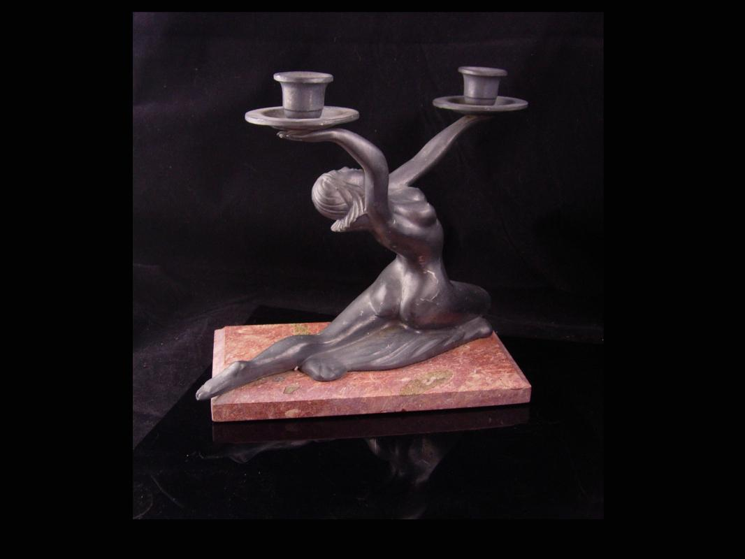 Erotic nude candle holder / art deco statue / Vintage Nude / Marble base / Goddess statue / Mantle sculpture / signed art petites choses