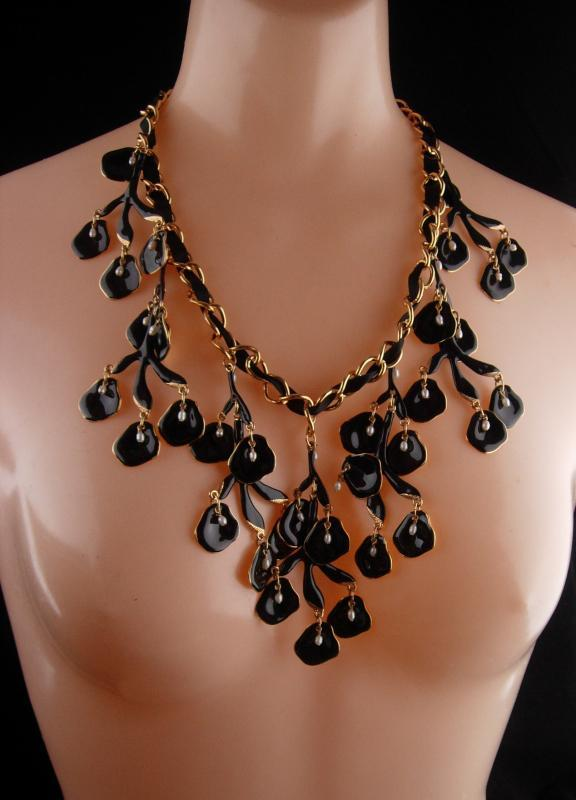 HUGE statement necklace / Black enamel / Genuine pearl drops / chandelier bib  with extender / designer jewelry / drag queen