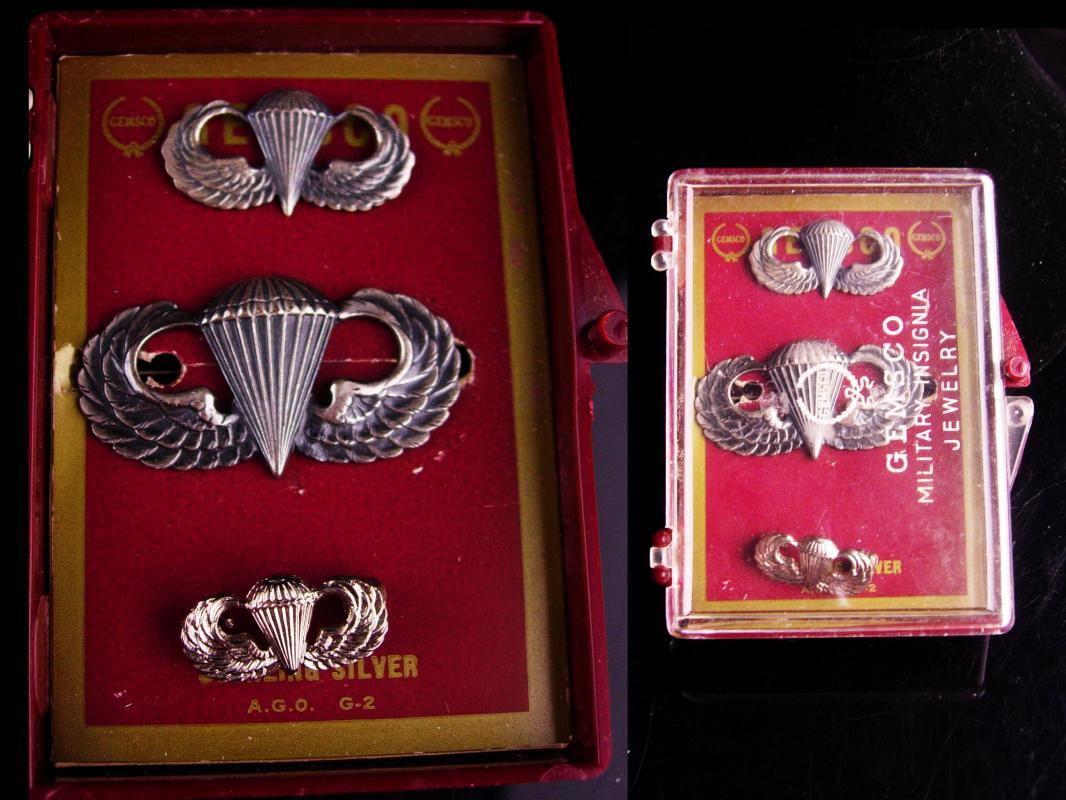 Vintage sterling military medal set / Parachutist Badge lot / Jump Wings / silver wings / parachute Award / Veteran Birthday / Retirement