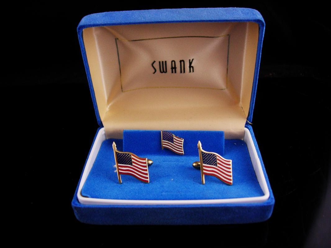 Patriotic Cufflinks set / vintage Swank flag tie tack / USA Red White Blue / Enamel Gold / Military Veteran /original box  america cufflinks