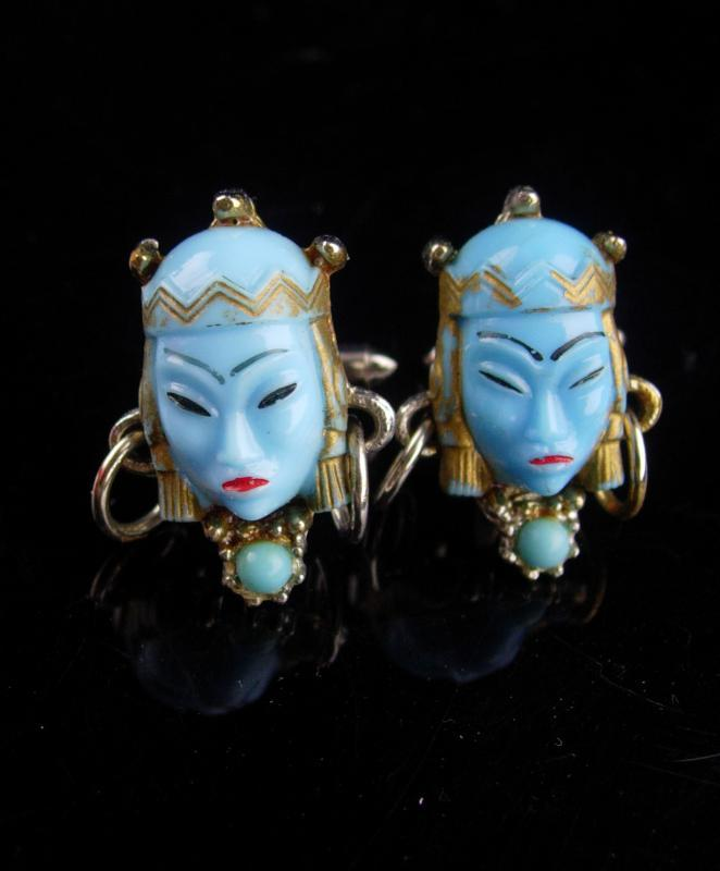 Vintage GODDESS Cufflinks /  blue asian heads / Oriental head with earrings / selro jewelry / asian princess / mask set / theater gift