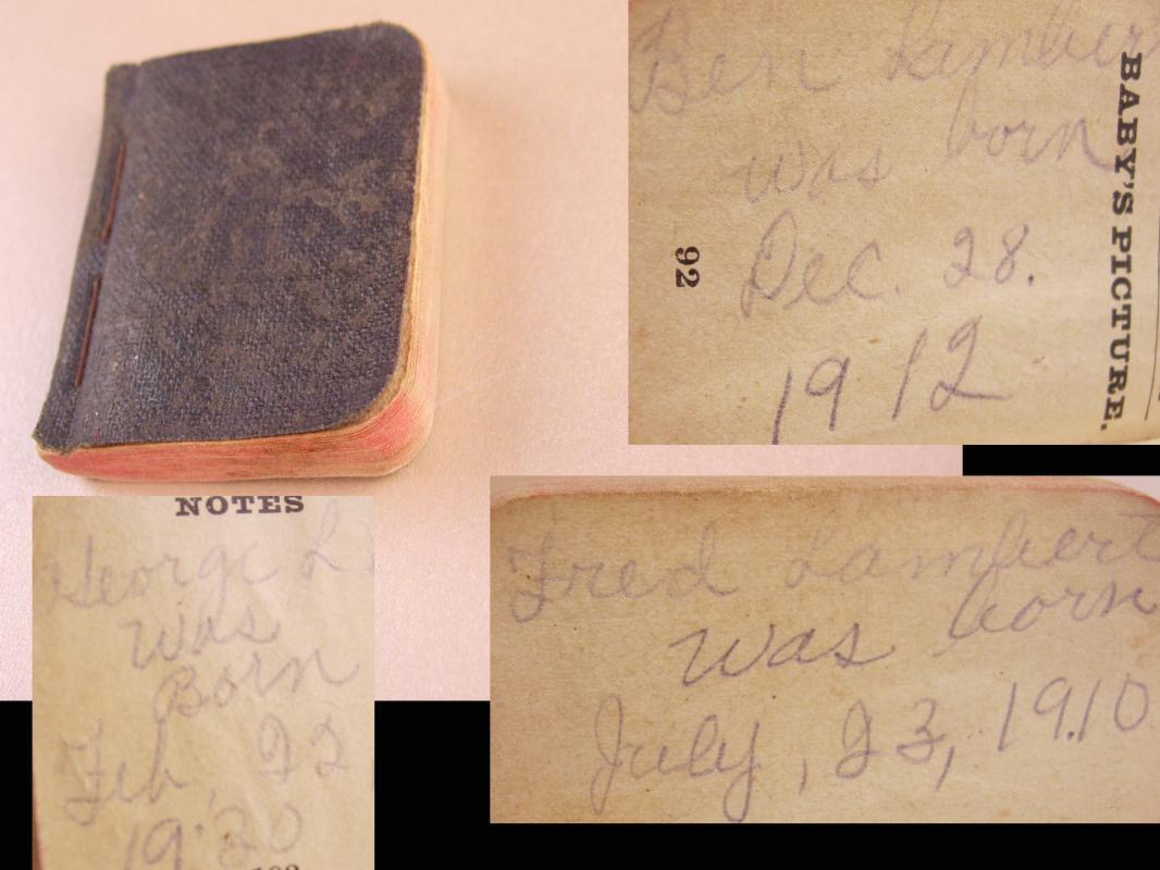 Lambert Family Baby Bible miniature Geneology Lile clyde fred ben george herbert j.h. clara wright warren Euna clarence and lee 1888 and up