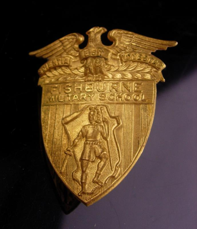 Vintage Fishburne military Badge / military academy / Army JROTC / robert E lee / Military school hat badge / cadet shield badge