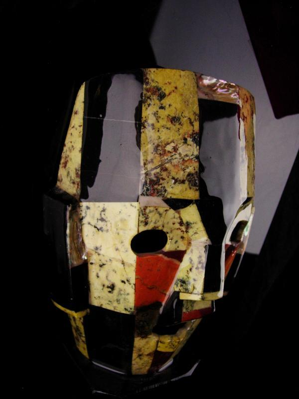 Bizarre Death Mask / Vintage tribal mosaic mask / obsidian & mother of pearl  / Abstract 3D Figural Face  / free standing