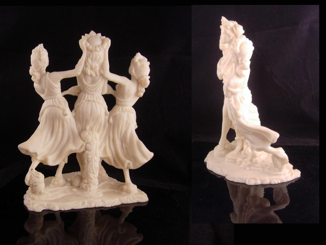 Erotic 3 graces statue - large vintage sculpture -  Vintage nude goddess - Greek  Mythology - large Mythical dancers - signed muses
