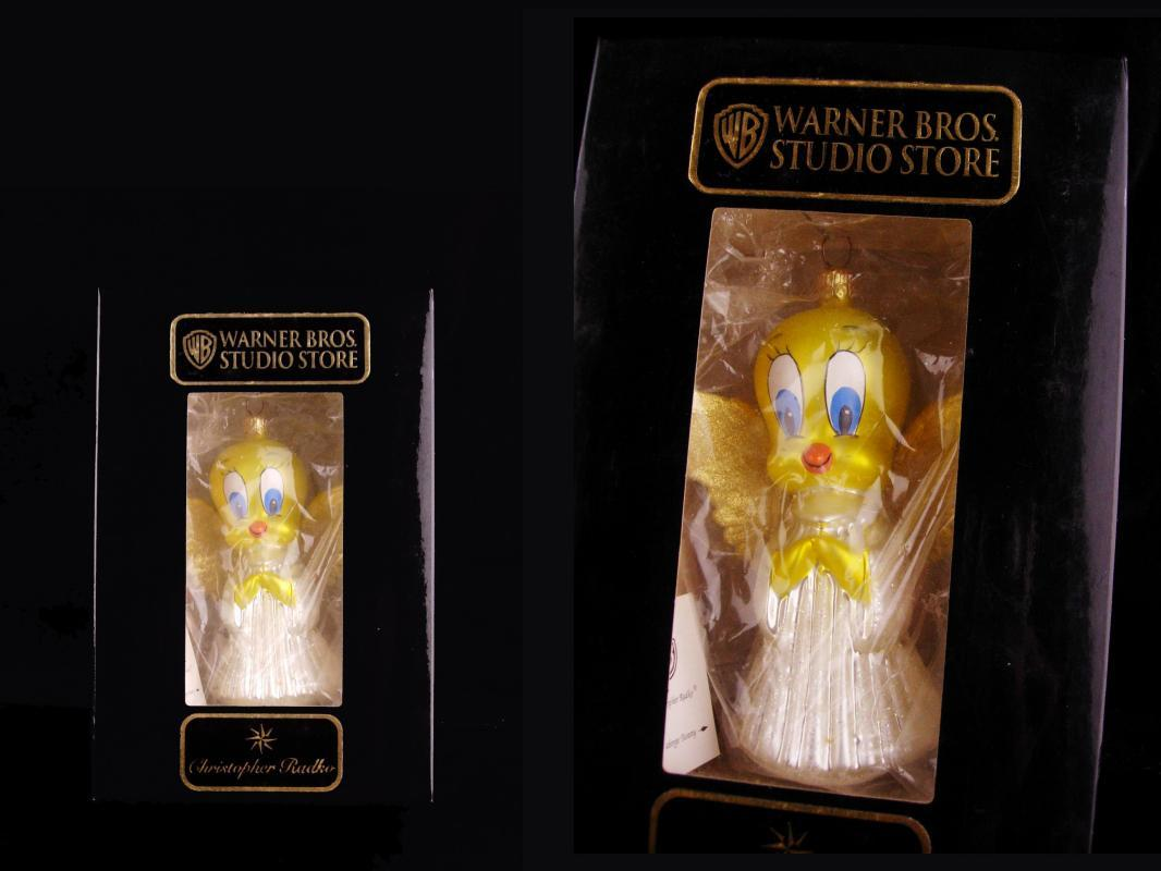 1995 Tweety Ornament - Radko hand blown collectible - glass ornament - vintage yellow bird - Angel wings on tweety bird -original box