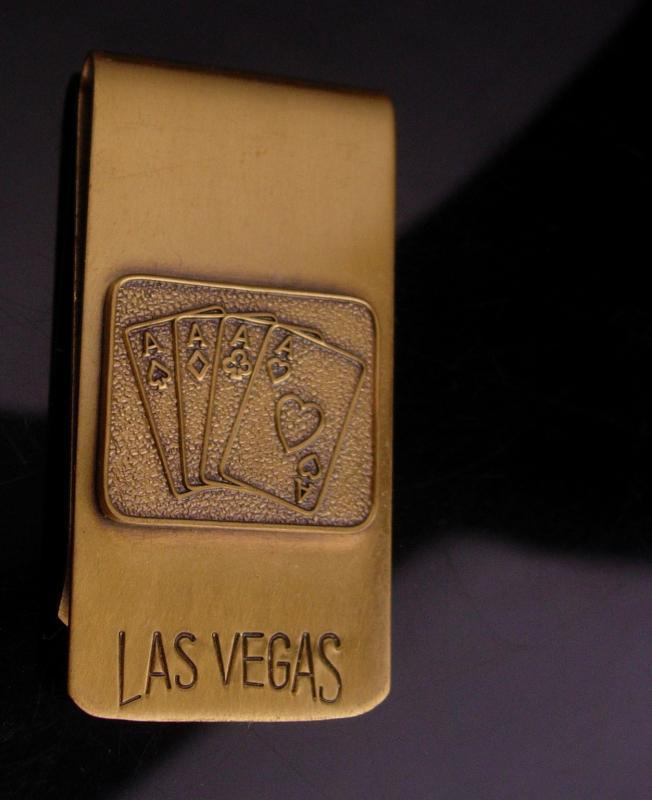 Gambling money clip - Las Vegas - vintage gambler gift - lucky Casino 4 aces - Nevada souvenir - playing cards -knight of round table