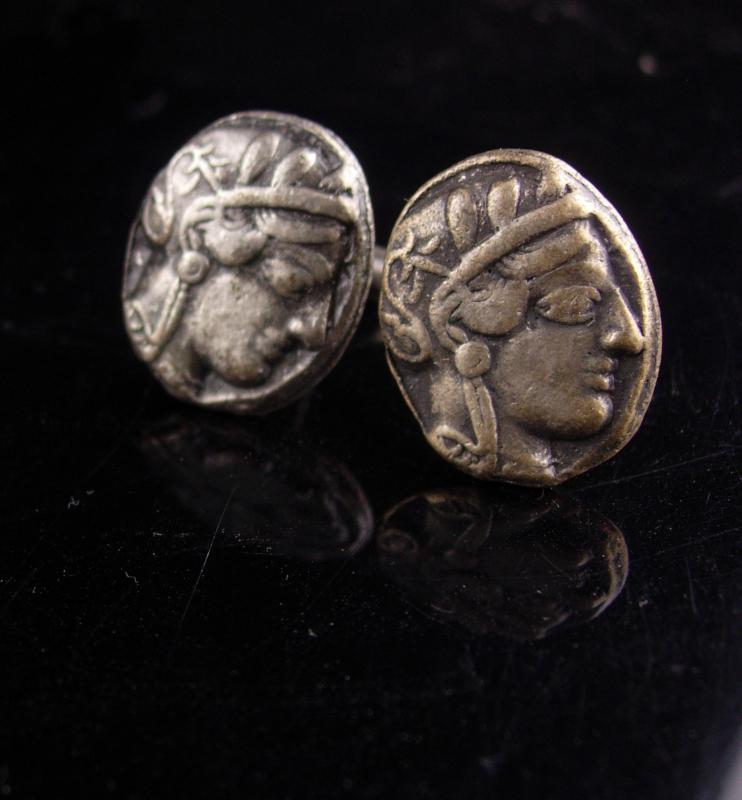 Ancient Coin Cufflinks - Vintage Julius Caesar -  estate jewelry - Roman tourist jewelry - Mythology byzantine set - poet author gift