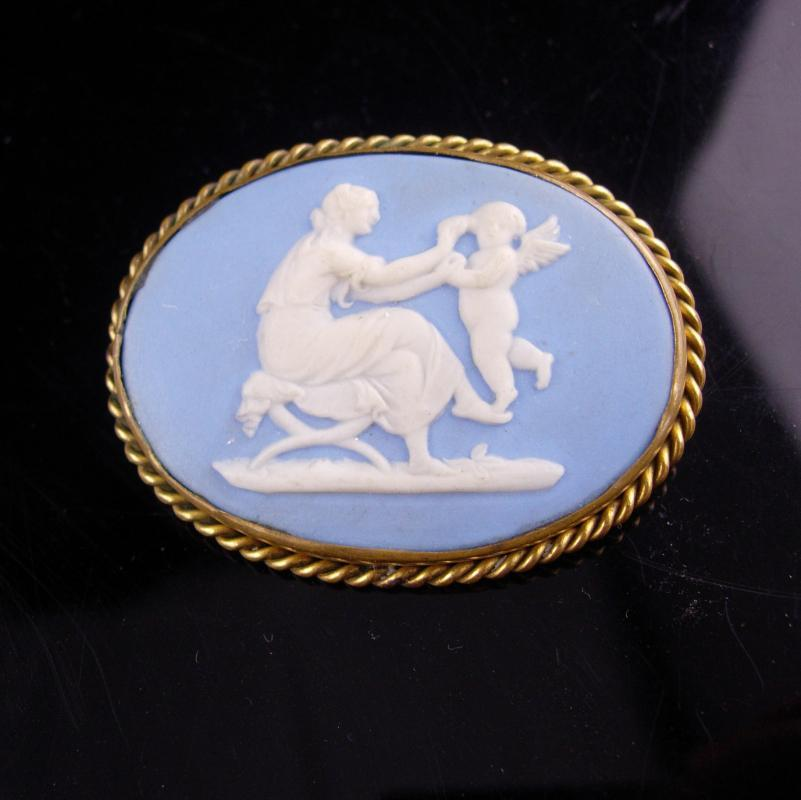 Large Antique Wedgwood Brooch - Cameo Angel - Blue Jasperware pin - new mother gift -  victorian cupid brooch - sympathy gift -1800 c clasp