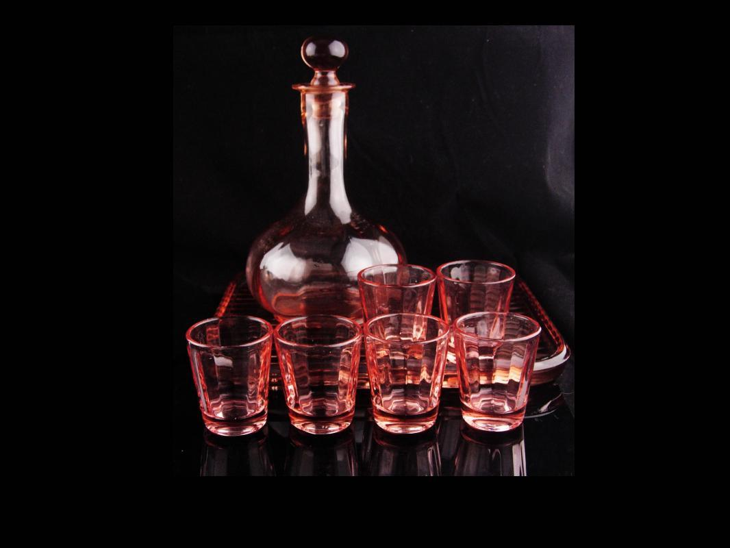 Pink Depression glass set  - Vintage Decanter - ribbed glass tray - 6 pink shot glasses - vintage barware - liquor bottle set