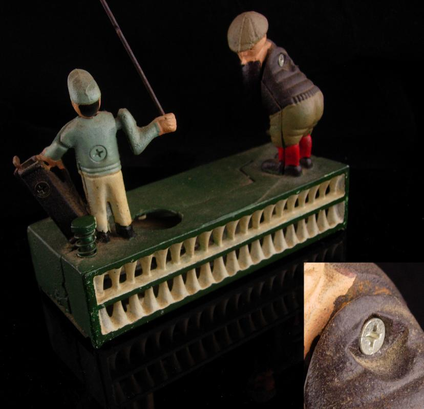 Mechanical bank - Vintage golf gift - metal toy - cast iron bank - Birdie Putt - Golfer and caddie - hole in one - gag gift