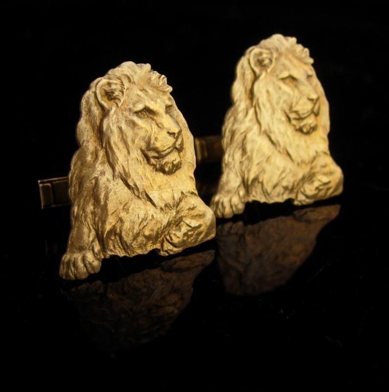 Large Lion Cufflinks - Vintage LEO gift -  Figural gold animal - cool mens gift - estate jewelry - July august birthday- patent 2472958