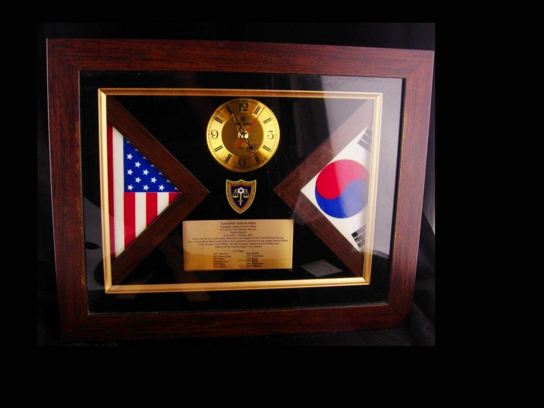 Taegeuk South Korea Flag Box - US Army Paralegal - Trial defense Service - Daegu Branch - Yongsan - Wall Clock - Lawyer gift - Joshua Hess