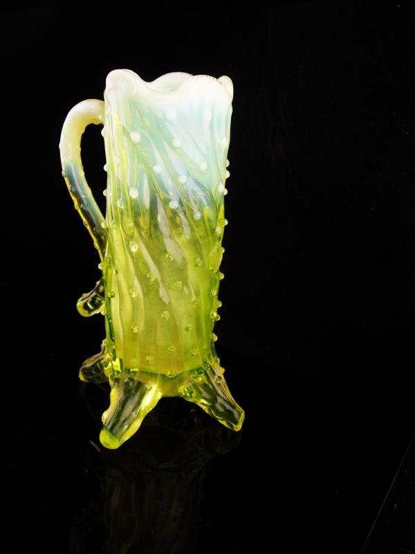 UNUSUAL vaseline glass mug / Vintage yellow art glass  / John Walsh Glassware / Opalescent / Thorn Footed / Uranium Glass with handle