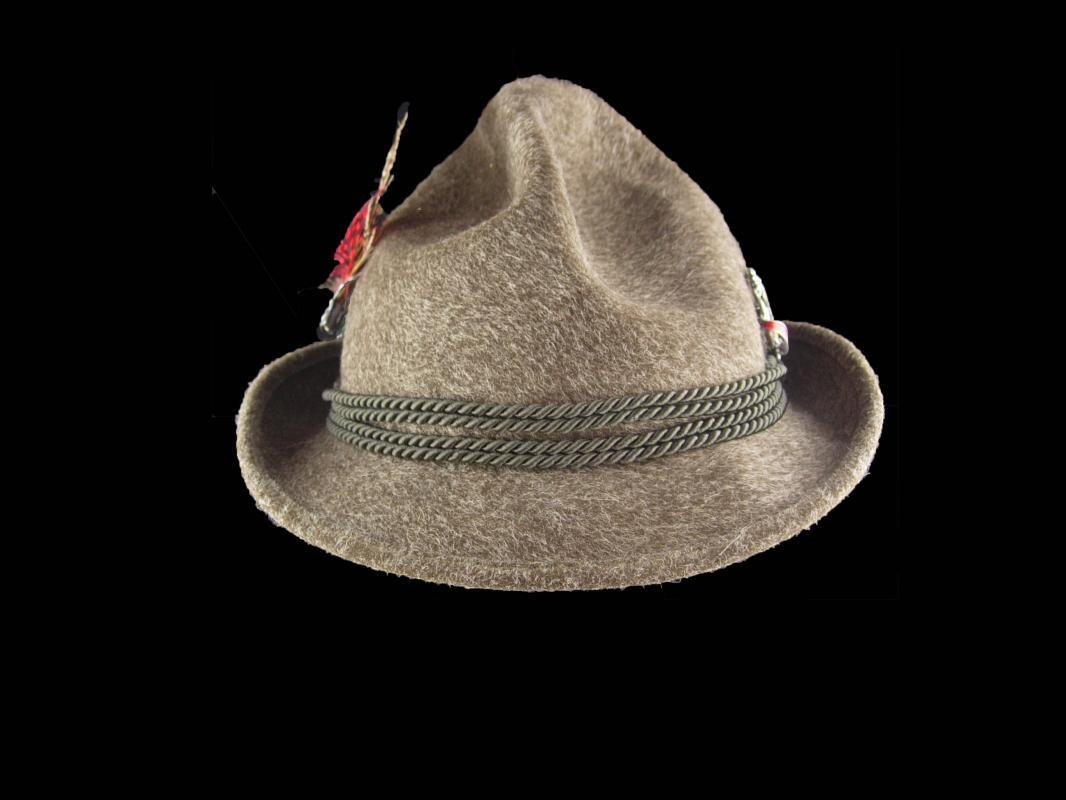 Vintage Bavarian Hat - mens Alpine fedora size 7 - German Hat  - Rein Haar -hiking Alps - size 57 -fur felt hat - green brown - mens hat - hat pin