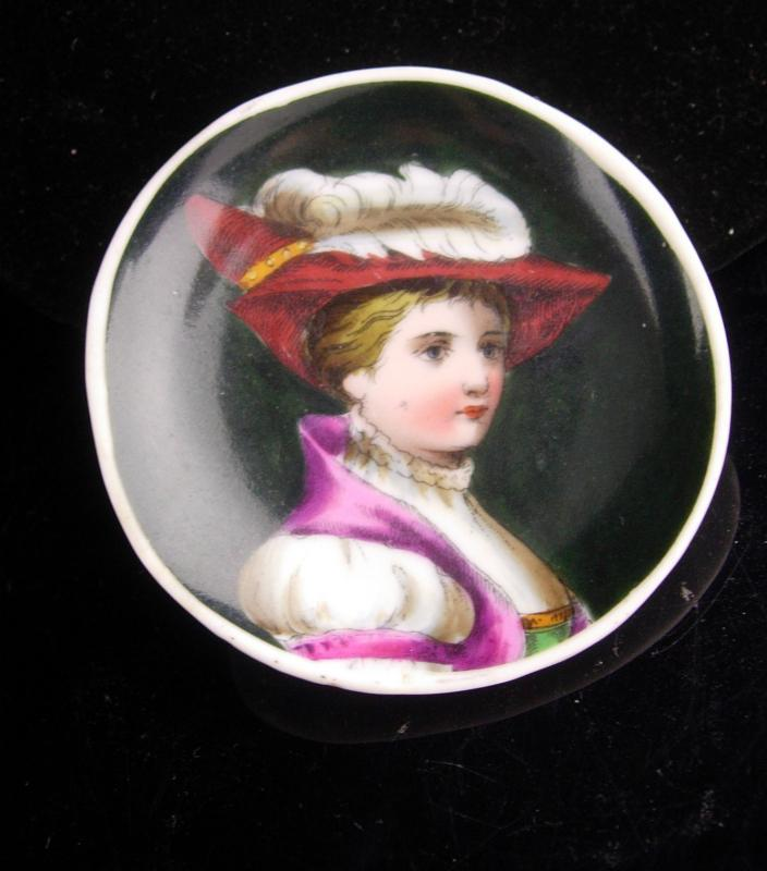 Antique French miniature - Handpainted portrait - Victorian cameo - young man or girl - Feather hat - miniature antique plate - renaissance