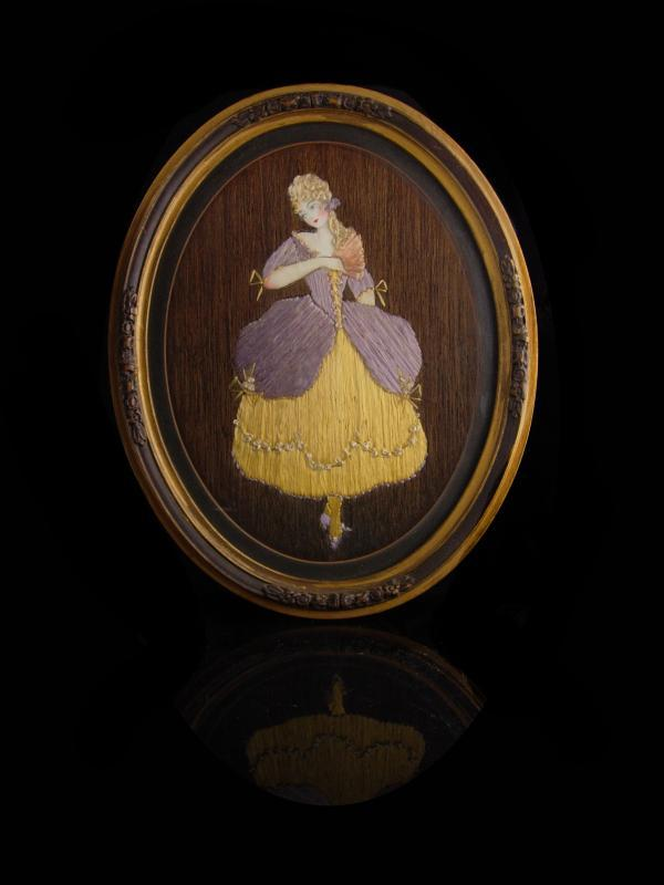 Antique 19th century Hair portrait - frame hair art - victorian fashion - Oval Victorian frame - hand painted doll Bustle dress under glass