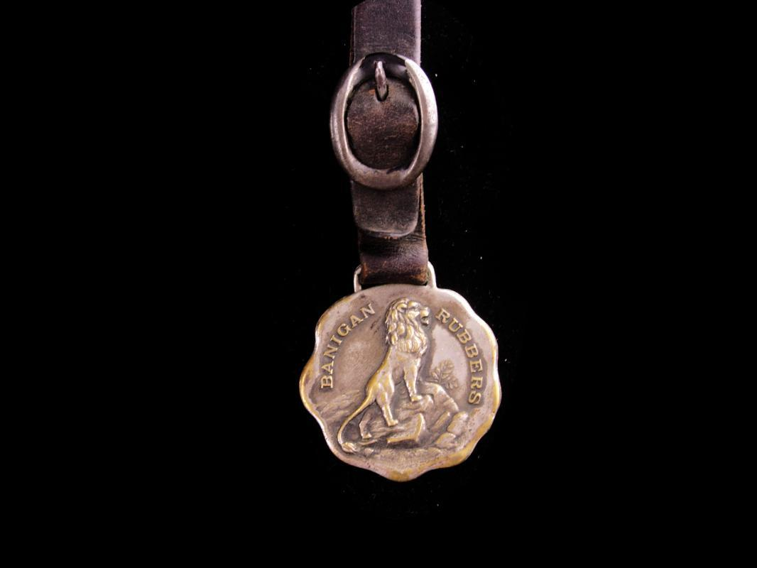 Vintage Rubbers Fob - Banigan lion brand - lion fob - little sisters of the poor - Irish owner - Joseph Banigan Rubber Company