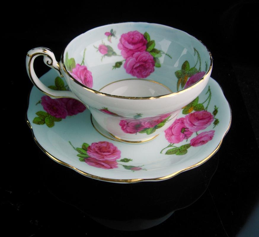Vintage blue teacup - EB Foley bone china tea cup - Pink roses flower Tea Cup saucer set - Fine bone china - mother of the bride gift