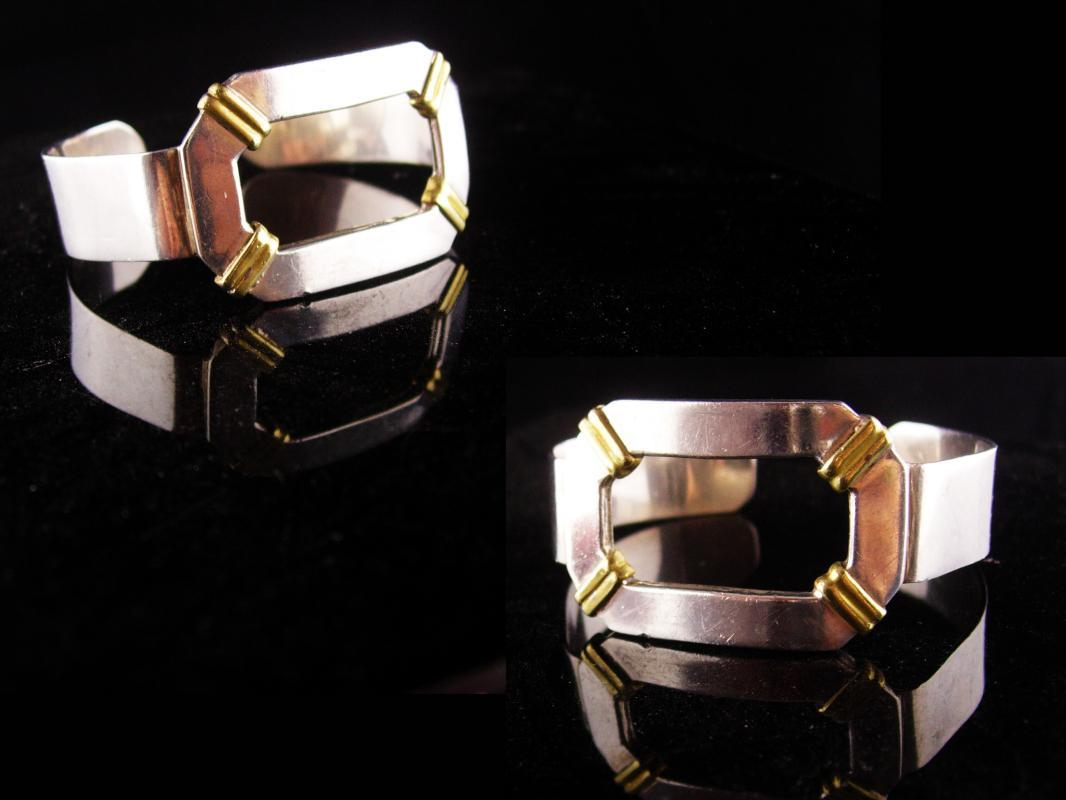 Sterling Large Cuff - Gideon silver - buckle bracelet - Wide with gold relief - artisan jewelry - mens womens -modernist jewelry