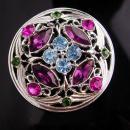 Vintage Irish Brooch - sweetheart gift - Celtic knot - purple rhinestone - blue cross - Friendship gift - costume pin