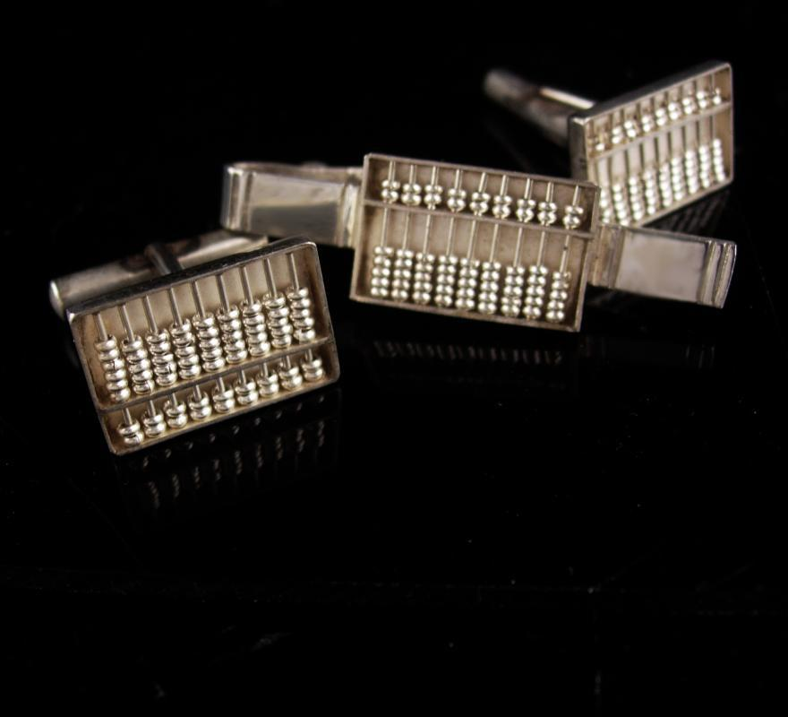 Sterling Abacus cufflinks set - WORKING Abacus Tie clip - Math mechanical Professors gift - Graduation gift - mens silver cufflinks set