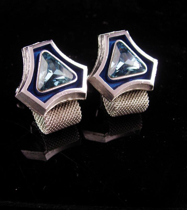 Vintage Blue Cufflinks - silver mesh wrap - mondernist enamel - Tuxedo Wedding groom - December birthstone - sagittarius capricorn