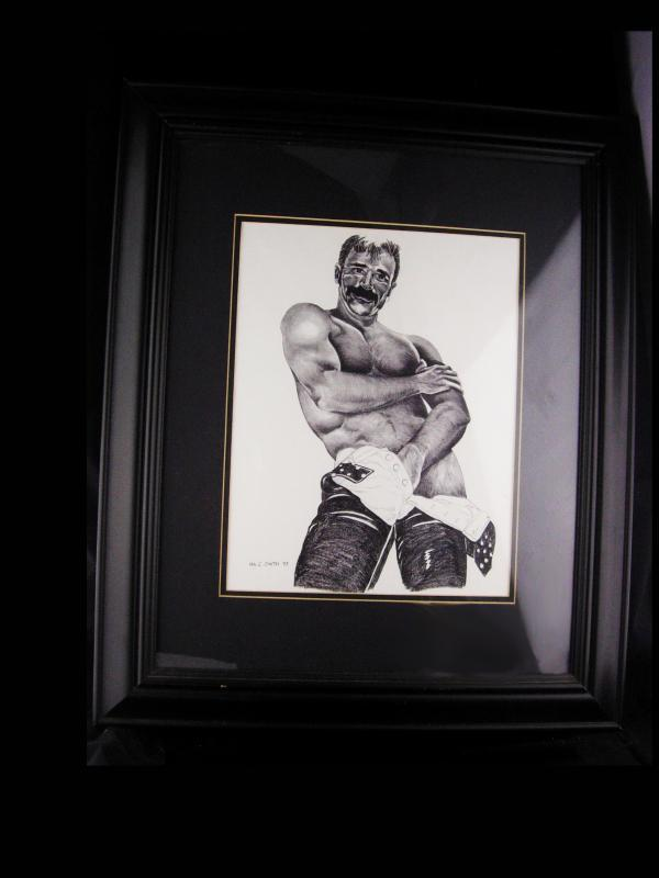 Signed pencil etching - erotic gay interest - Ira C Smith - Framed male nude - leathermen art - Alternative Illustration -graphite nude