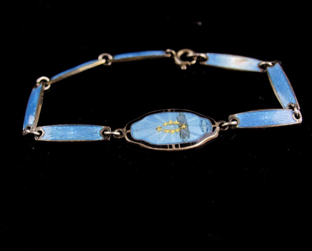 Antique Sterling bracelet - Vintage art deco jewelry - blue guilloche enamel - religious bracelet -estate jewelry - signed bracelet