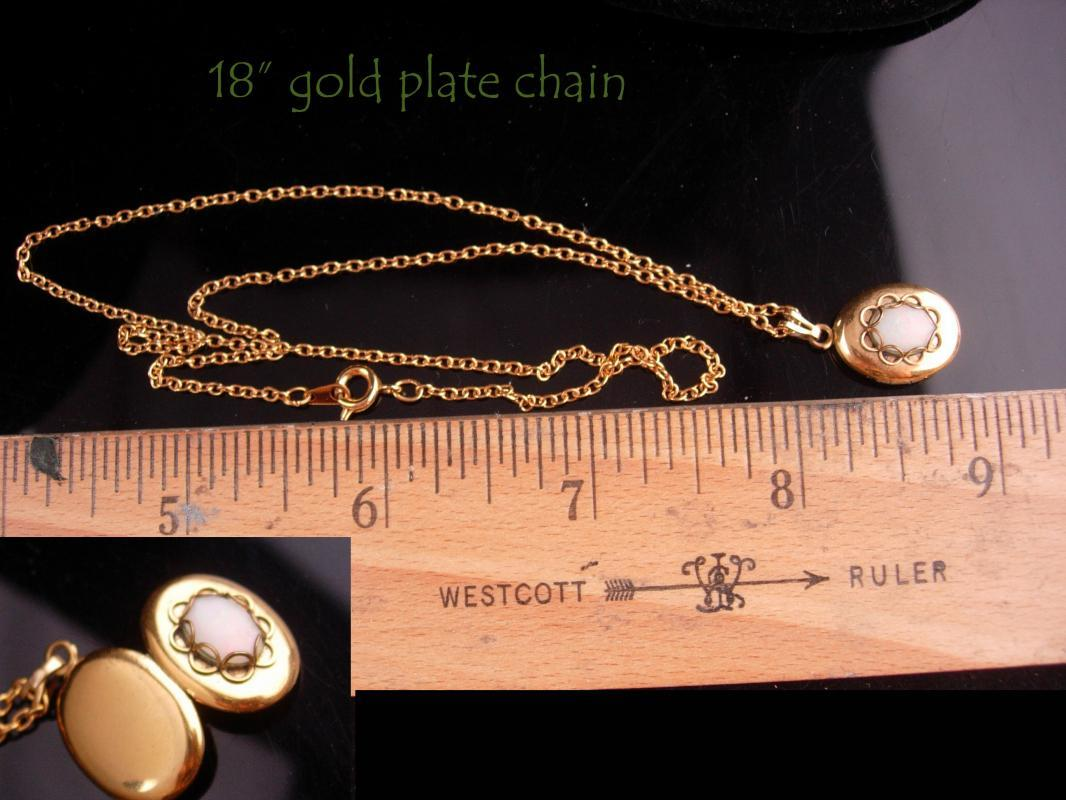 Vintage Opal Locket - petite keepsake pendant - gold plate necklace -girls Birthday - wedding Anniversary - Gem of Gods - Cupid love stone