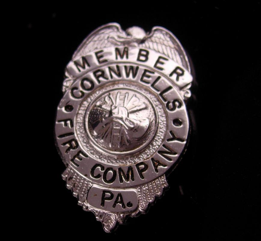 Vintage Fire Department Badge - Cornwells Fire Company - member pin - Firefighter gift - Bensalem Township - Bucks County Pennsylvania