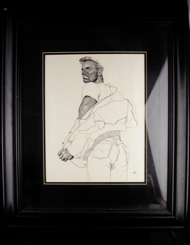 Ira C Smith- Signed pencil etching - erotic gay interest - Framed male nude - leathermen art - Alternative Illustration  graphite nude 24x20
