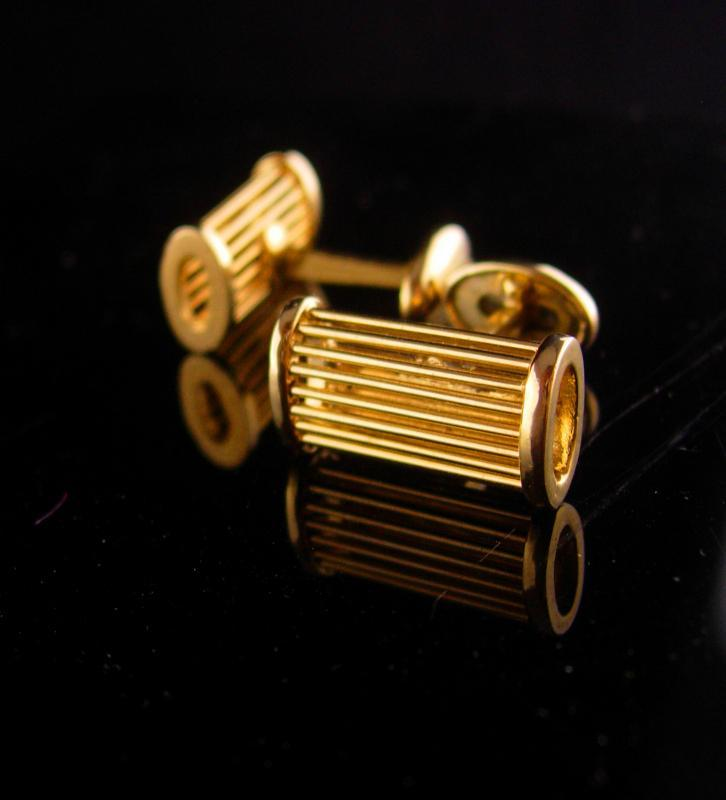 Tuxedo Cufflinks - Vintage Wedding set - groom cufflinks - Formal mens jewelry - gold modernist set - anniversary gift - father of the bride