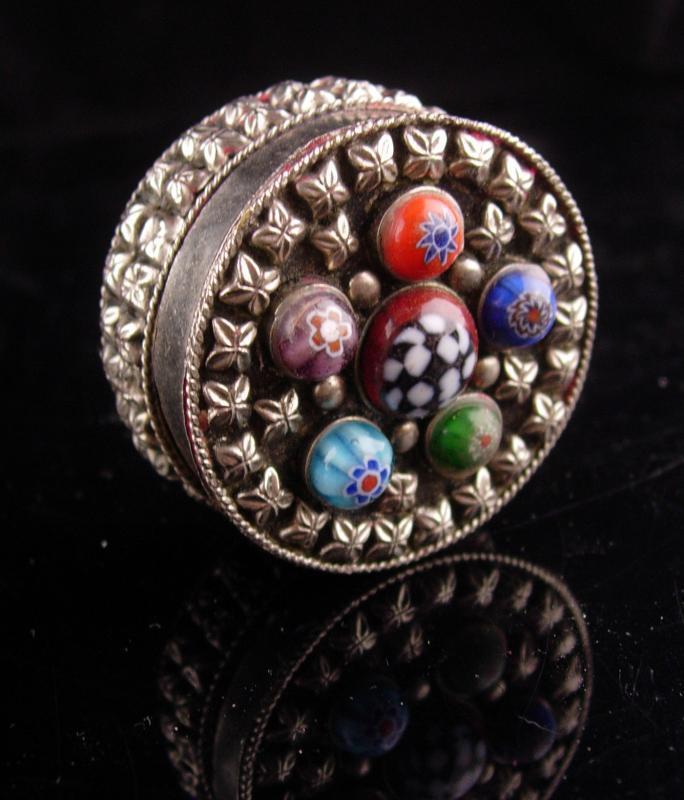 Vintage Millefiori trinket Box - silver Ring casket - keepsake case - jewelry case - lined box - etruscan metal - miniature box