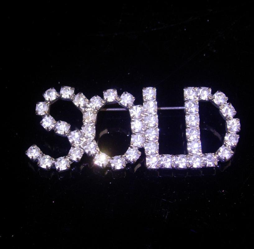 Vintage SOLD pin / silver Rhinestone Brooch / realtor pin / Real Estate Sales / Birthday gift / salesman pin / housewarming gift
