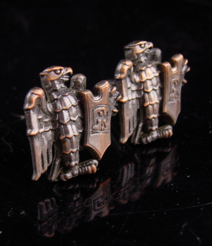 Unusual Eagle Cufflinks vintage eagle shield - Patriotic military - officer insignia - uniform symbol - medieval shield - fighting warrior