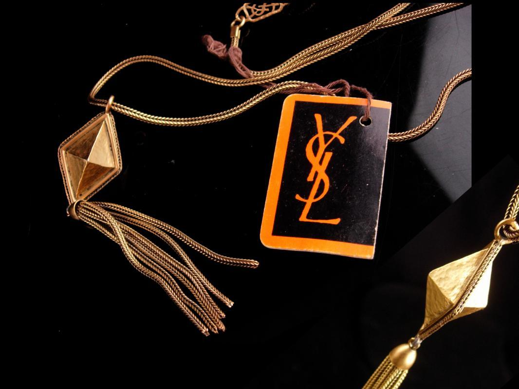 Vintage Yves Saint Laurent necklace - French necklace - original tag - YSL tassel necklace -  Signed Fine Jewelry - designer jewelry
