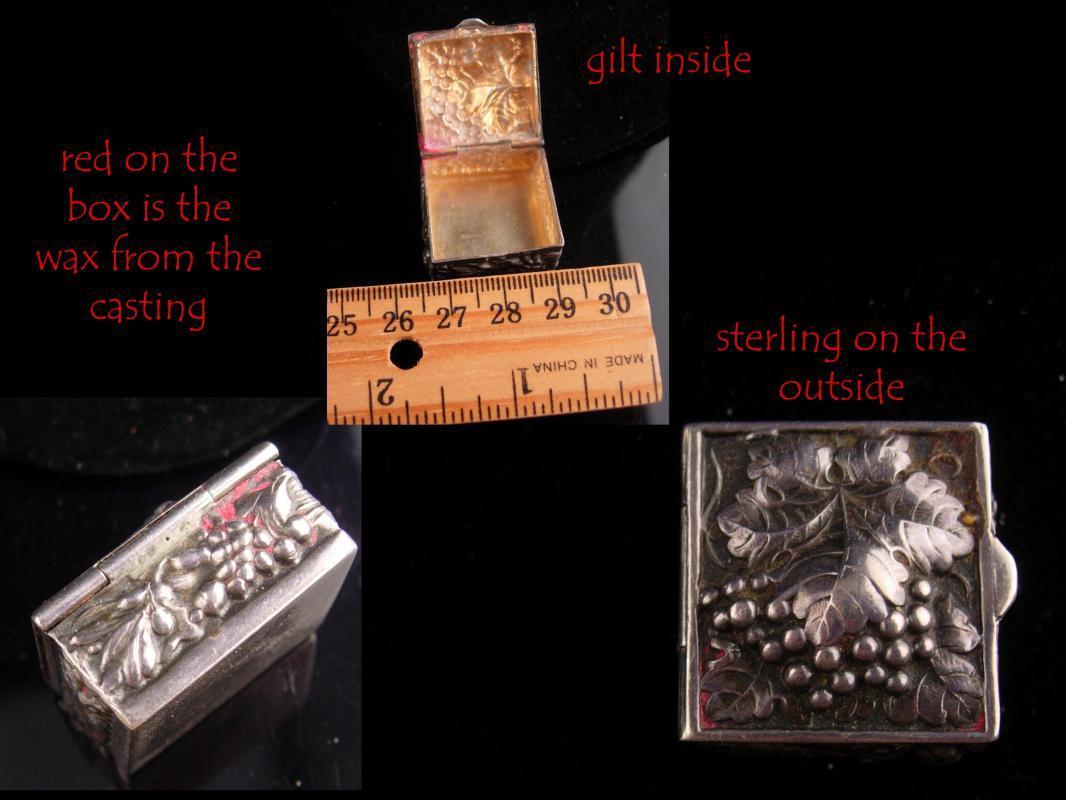 Antique RING Box - sterling Wedding box - Miniature snuff Casket -  Italian grapes -  Trinket snuff - Victorian Ring casket - gold ormolu