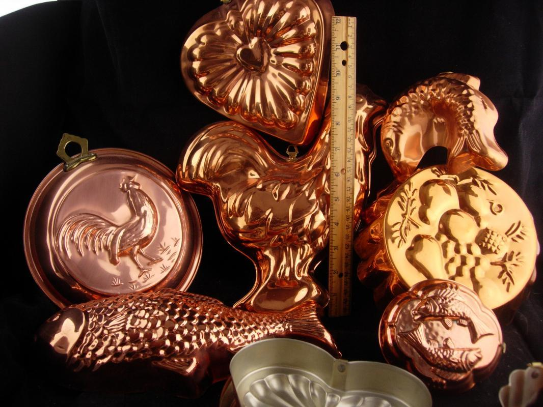 13pc Vintage Jello mold lot - copper food molds - Roosters - valentines - heart molds - pineapple - copper fish - forget me not - cook gift