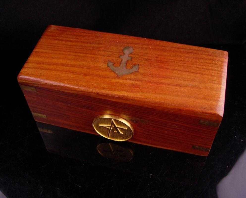 Mens embossed Ship Box - Nautical Anchor vintage gift - Initial A -Jewelry case - mens dresser box - gift for dad sailor- personalized gift