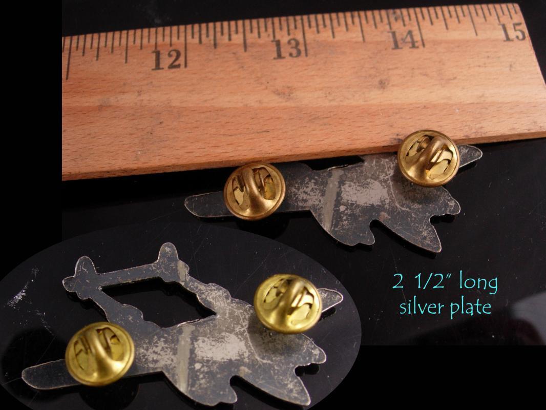 WW11 Airplane collar pin - Vintage Military pin - aviator gift - Lockheed P-38 Lightning lapel pin - silver airplane