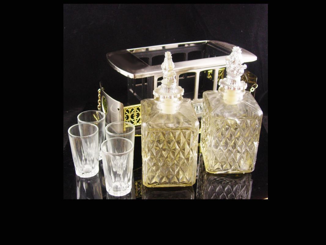 San Francisco Music Box - Trolley car - barware- shot glasses - decantors - Vintage crown Decanter -  vintage barware - liquor bottle set