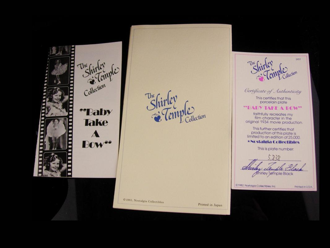 Shirley Temple Boxed plate - original paperwork - numbered - Baby Take a Bow - Pink dress - 10