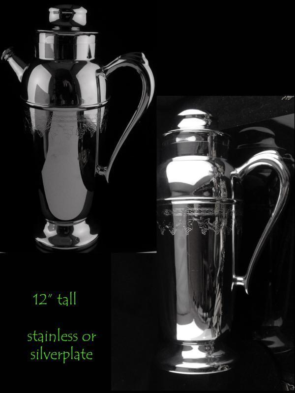 Cocktail Martini Shaker set - Barware Set - 6 Goblets - Vintage Mid Century Modern set - Wedding party gift novelty Bartender gift