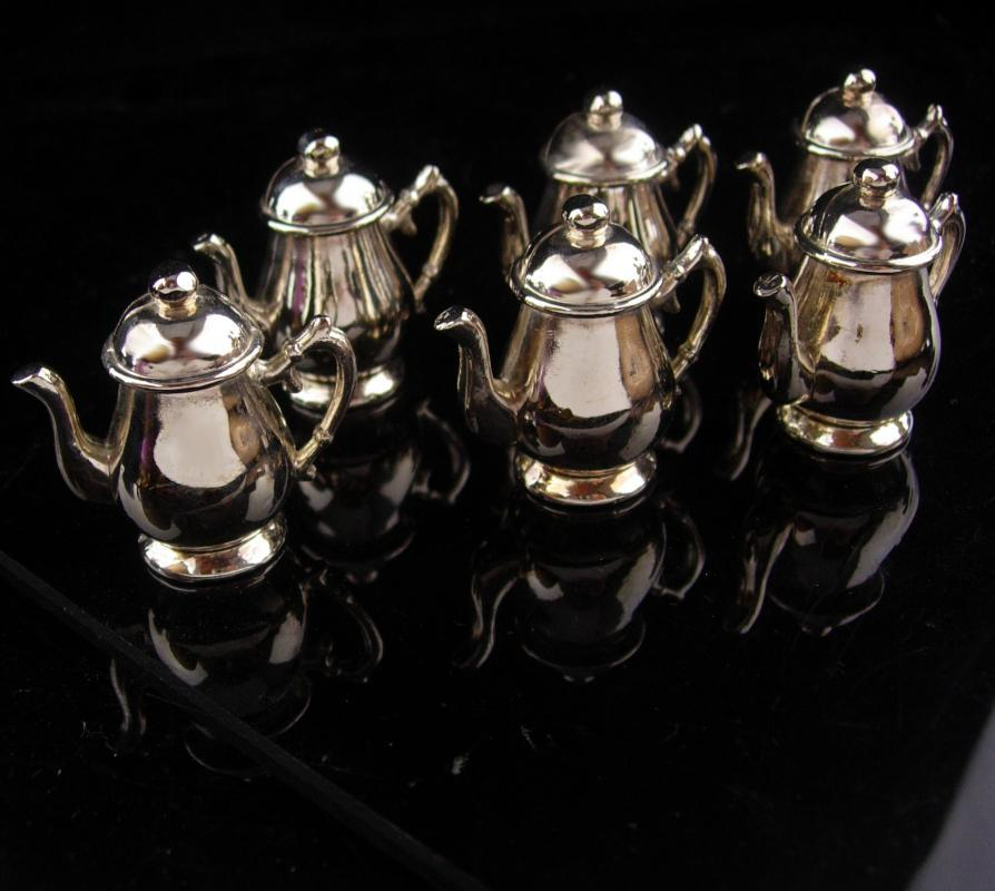 6 Vintage  Place Card Holders - silver teapots - victorian tea - business card holder - dinner party accessory