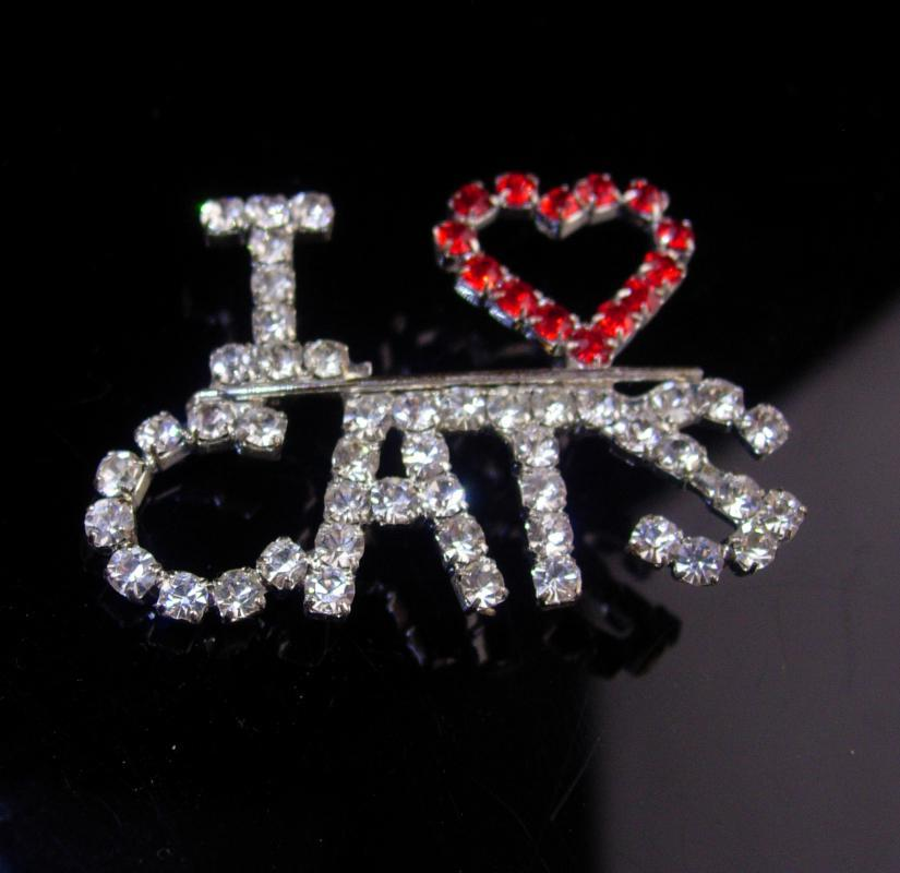 vintage Exotic Cat Brooch - rhinestone pin - I love cats - animal lover gift - gift for vet - gift for her - silver red pin