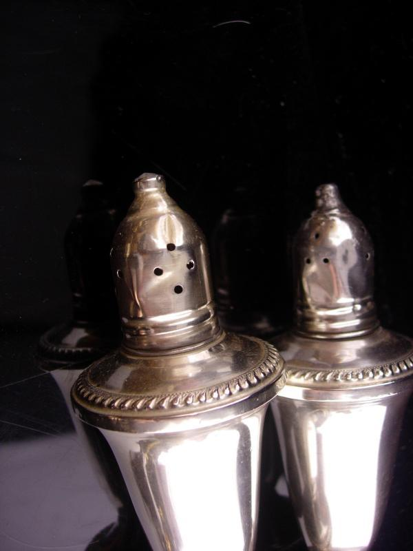Victorian sterling Salt Pepper Shaker set - vintage sterling set - tall fancy design - Duchin marked sterling -  vintage silver wedding gift