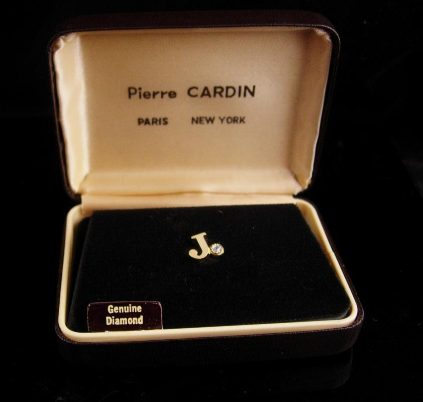 Genuine diamond tie tack - Pierre Cardin - Initial J - personalized letter J - vintage original box - Wedding gift - gold anniversary gift