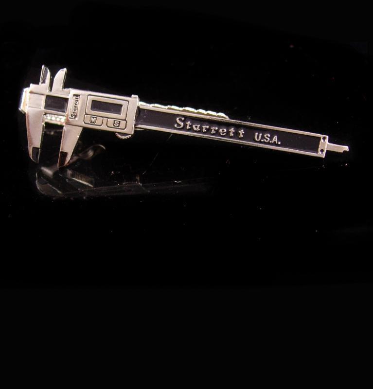 Vintage Caliper tieclip / micrometer tie bar / starrett Industrial Tool / machinist gift / Carpenter handyman mens cool silver gift Tie bar